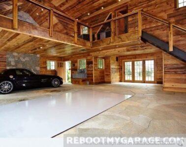 wood beam classic car garage