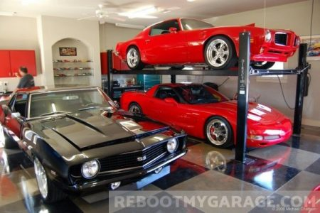 Stacked car lifts garage