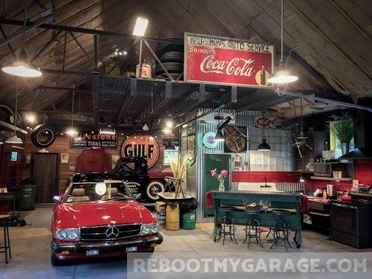 Mercedes and Coke garage