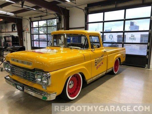 Restored classic truck garage