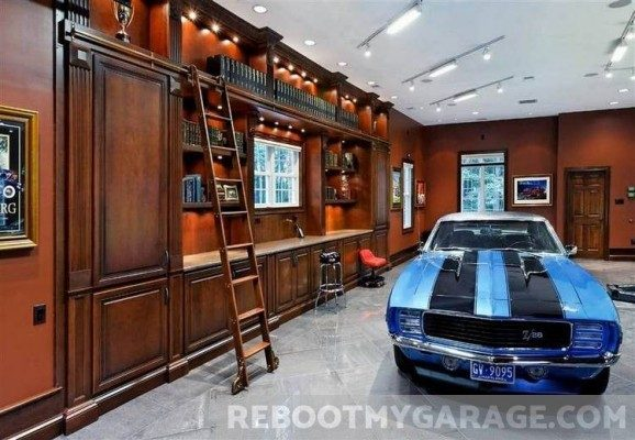 Library and muscle car garage