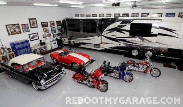 Motorhome, race car, motorcycles garage