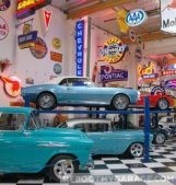 The blue car garage