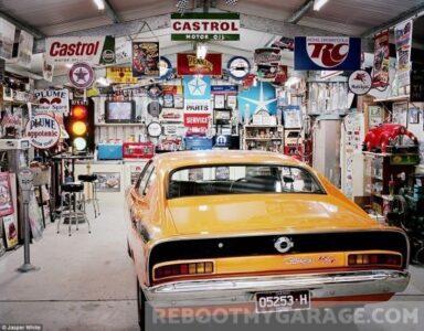 Yellow Cuda garage