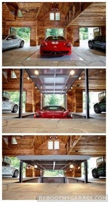 red sports car garage