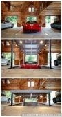 red sports car garage