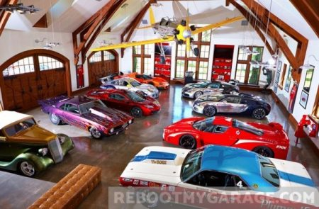 Rows of cool cars garage