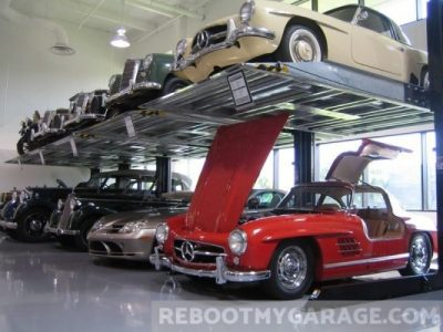 Hood open Mercedes garage
