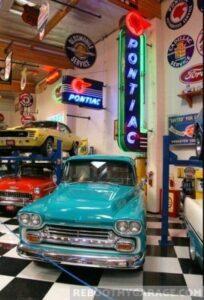 Blue farm truck garage