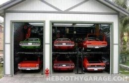 Piles of muscle cars garage