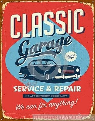 Classic garage service and repair sign