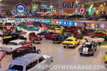 Gulf Oil sign and muscle cars garage
