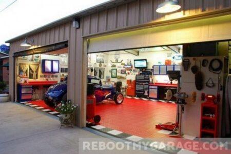 Red race floor garage