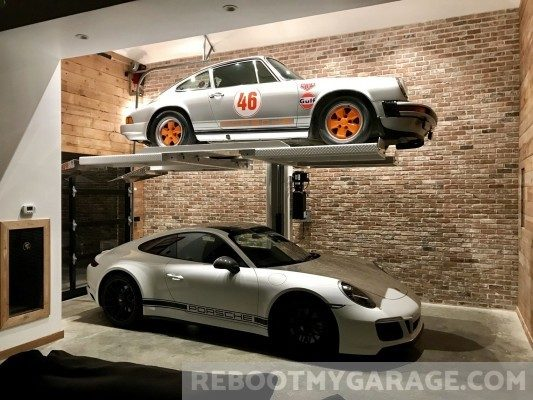 Sports car lift garage