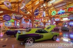 Muscle car and garage art garage