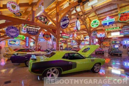 Muscle car and garage art garage