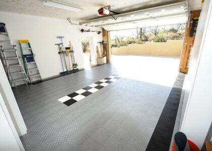 garage track gray race checker