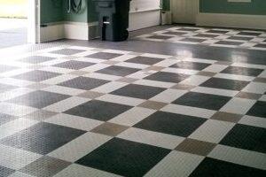"Black, white and ""alloy"" GarageTrac tiles"