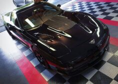 GarageTrac Diamond anti slip garage floor tile in black and white with red trim