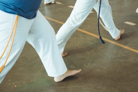 Being barefoot adds back stability to a vinyl floor