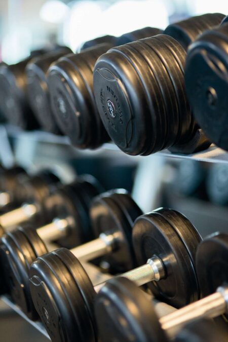 Dumbbell work is easier on a rubber gym floor