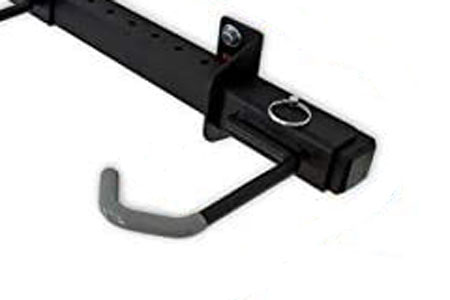 The StoreYourBoard 5-Bike rack hooks are wide for fat tires, and parallel to the ground.