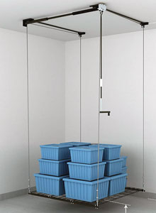 Use a pulley to life this FlexiMounts overhead rack to the ceiling.