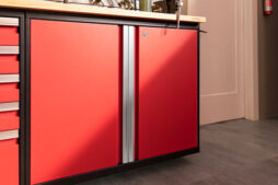 NewAge Products base garage cabinet in red