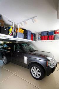 A SafeRacks platform installed over a car