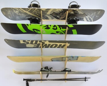 Store up to five boards or pairs of skis