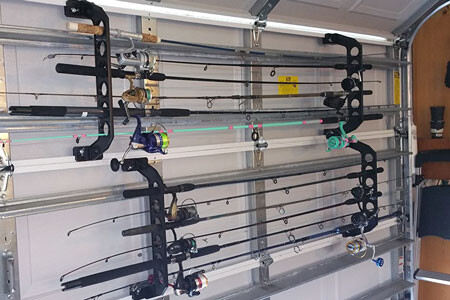 Store 10 rods on two sets of racks