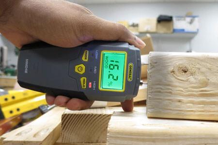 Insert pins into wood to get internal moisture measurement