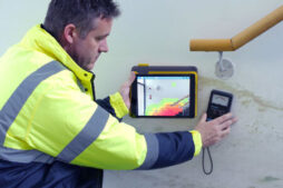 Measuring moisture at stairs with Tramex MEP moisture meter